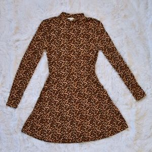 Forever 21 Animal Print Mock Neck Skater Dress